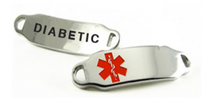 Medical ID tag with DIABETIC engraved on back of stainless steel tag, red emblem offset on front.