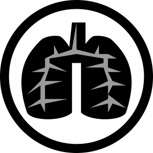 Lungs icon in black circle.
