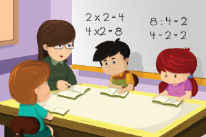 cartoon of 1 teacher and 3 students at a table learning math.