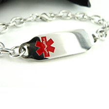 White Pre-Engraved /& Customized Breast Cancer Charm Medical Bracelet Red Millefiori Glass My Identity Doctor
