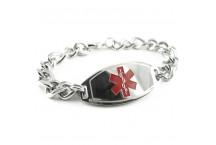 Basic, Pre-engraved Alzheimers Bracelet, Thick Figaro Chain, Red Medical Alert