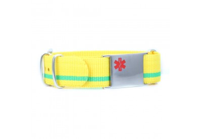Yellow sport wristband with a bright green stripe.
