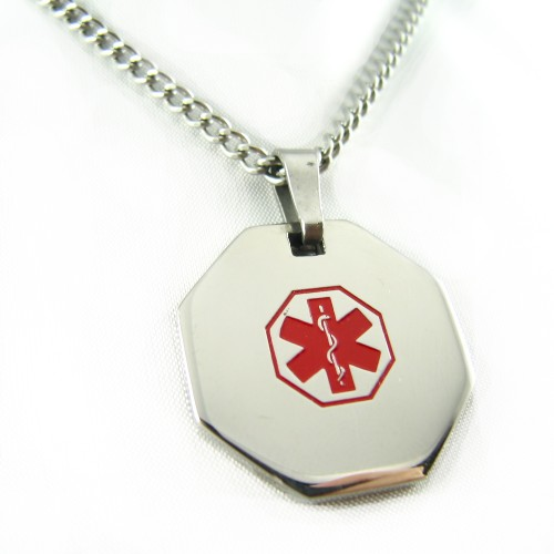 Medic Alert Necklace: MyIDDr Steel Medical Alert ID Necklace