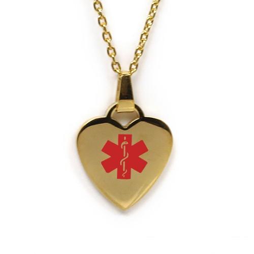 Medic Alert Necklace: MyIDDr Medical Alert Necklace Gold Toned Steel Heart