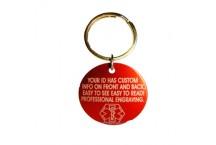 Medical Alert Keychain ID Tag, Red Aluminum