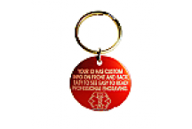 Medical Alert Keychain ID Tag, Red Aluminum