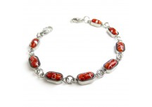 MyIDDr Red Millefiori Glass, Interchangeable Medical Bracelet Strand
