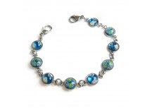MyIDDr Round Blue Millefiori Glass, Interchangeable Medical Bracelet Strand