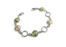 MyIDDr Stainless Steel and Green/White Round Millefiori Glass, Interchangeable Bracelet Strand