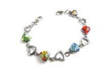 MyIDDr Stainless Steel and Glass Mixed Color Hearts, Interchangeable Medical Bracelet Strand