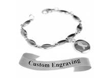 MyIDDr Gray Awareness Ribbon Bracelet Engraved Stainless Steel Drop