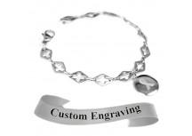 MyIDDr Gray Awareness Bracelet Custom Engraved Steel Cross Cut-Out Links