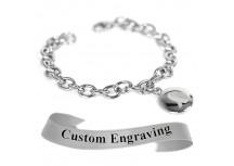 MyIDDr Gray Ribbon Awareness Bracelet Engraved Stainless Steel O-Links