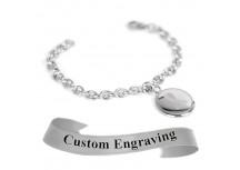 MyIDDr Gray Awareness Bracelet Custom Engraved XS Steel Mini O-Link Chain