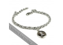 MyIDDr Gray Awareness Ribbon Bracelet Engraved Silk and Steel Chain