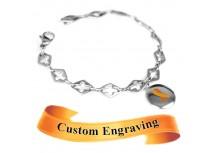MyIDDr Orange Ribbon Awareness Bracelet Engraved Steel Cross Cut-Out Links