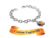 MyIDDr Orange Awareness Charm Bracelet Engraved Stainless Steel O-Links