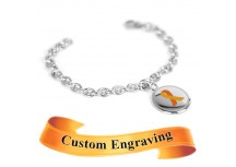 MyIDDr Orange Ribbon Awareness Bracelet Engraved XS Steel Mini O-Link Chain