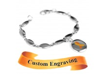 MyIDDr Orange Awareness Bracelet Custom Engraved Stainless Steel Drops