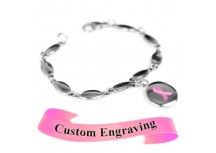 MyIDDr Pink Breast Cancer Awareness Bracelet Engraved Stainless Steel Drops