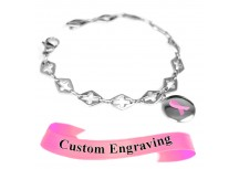MyIDDr Pink Breast Cancer Awareness Charm Bracelet Engraved Steel Cross Cut-Out Links