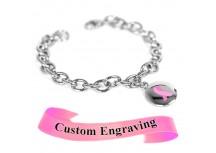 MyIDDr Pink Breast Cancer Ribbon Bracelet Engraved Stainless Steel O-Links