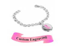 MyIDDr Pink Breast Cancer Awareness Bracelet Engraved XS Steel Mini O-Link Chain