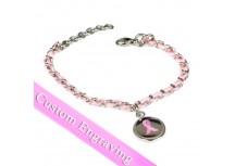 MyIDDr Pink Breast Cancer Awareness Bracelet Engraved Silk and Steel Chain