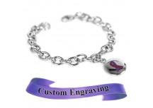 MyIDDr Purple Awareness Bracelet Custom Engraved Stainless Steel O-Links