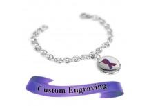 MyIDDr Purple Awareness Ribbon Bracelet Engraved XS Steel Mini O-Link Chain