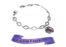 MyIDDr Purple Awareness Ribbon Bracelet Engraved Steel Cross Cut-Out Links