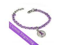 MyIDDr Purple Ribbon Awareness Bracelet Engraved Silk and Steel Chain