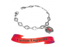 MyIDDr Red Awareness Bracelet Custom Engraved Steel Cross Cut-Out Links