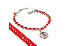 MyIDDr Red Awareness Bracelet Custom Engraved Silk and Steel