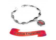 MyIDDr Red Awareness Ribbon Bracelet Engraved Stainless Steel Drop