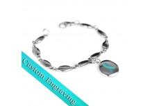 MyIDDr Teal Awareness Bracelet Custom Engraved Stainless Steel Drops