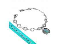 MyIDDr Teal Ribbon Awareness Bracelet Engraved Steel Cross Cut-Out Links