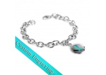 MyIDDr Teal Awareness Charm Bracelet Engraved Stainless Steel O-Links