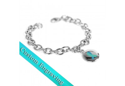 Myiddr Teal Awareness Charm Bracelet Engraved Stainless Steel O Links