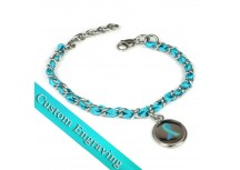 MyIDDr Teal Awareness Charm Bracelet Engraved Silk and Steel Chain