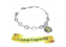 MyIDDr Yellow Awareness Charm Bracelet Engraved Steel Cross Cut-Out Links