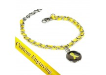 MyIDDr Yellow Awareness Ribbon Bracelet Custom Engraved Silk and Steel