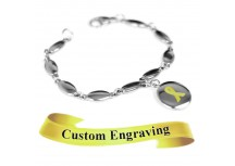 MyIDDr Yellow Ribbon Awareness Bracelet Engraved Stainless Steel Drops