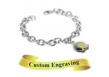 MyIDDr Yellow Awareness Charm Bracelet Engraved Stainless Steel O-Links