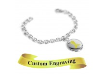 MyIDDr Yellow Awareness Charm Bracelet Engraved XS Steel Mini O-Link Chain