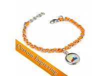 MyIDDr Autism Awareness Bracelet Engraved Orange Silk and Steel Chain