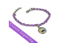 MyIDDr Autism Awareness Bracelet Engraved Purple Silk and Steel Chain