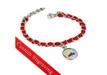 MyIDDr Autism Awareness Bracelet Engraved Red Silk and Steel Chain