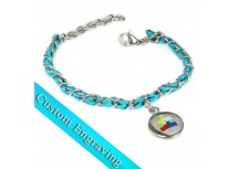 MyIDDr Autism Awareness Bracelet Engraved Teal Silk and Steel Chain