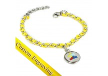 MyIDDr Autism Awareness Bracelet Engraved Yellow Silk and Steel Chain